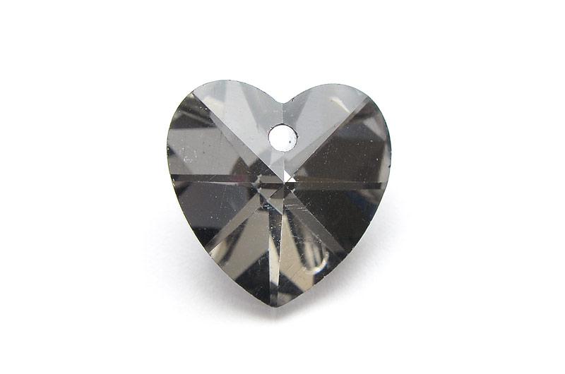 Glasberlock Hjärta med pointpack, Smoke
