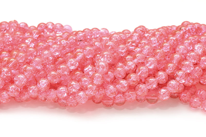 Krackelerade glaspärlor 8mm Rosa ca 105st