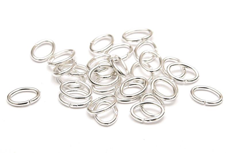 Silverpläterade ovala bindringar 7x5mm Extra starka