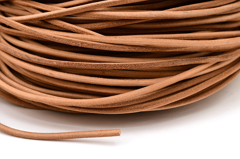Äkta lädersnöre 4mm Ljusbrun