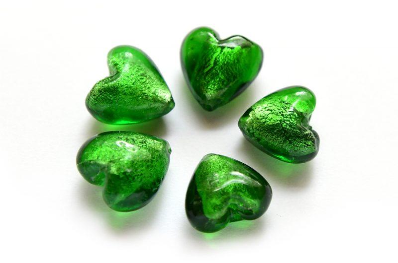 Silverfoil Hjärta 12mm Grön, 5st