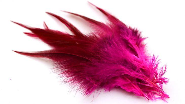 Färgade fjädrar Cerise/Rosa 10st