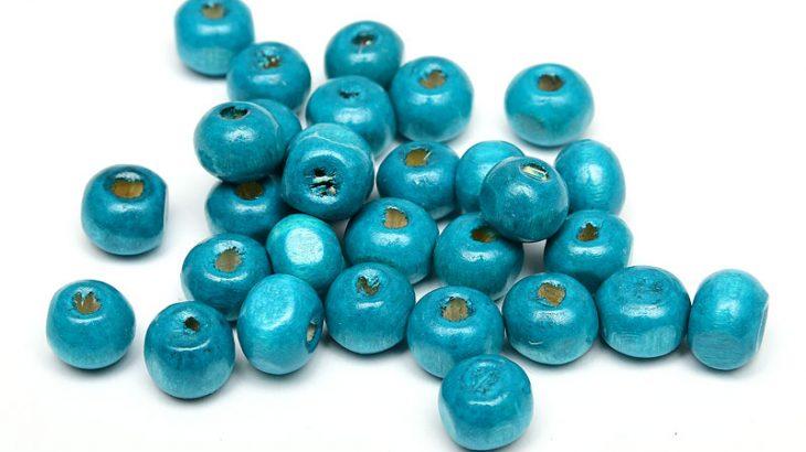 Träpärlor Turkosblå 7mm