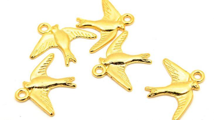 Guldpläterade berlocker svalor, 5st