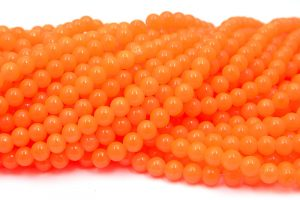 Jadeimitation Runda 8mm Neon orange