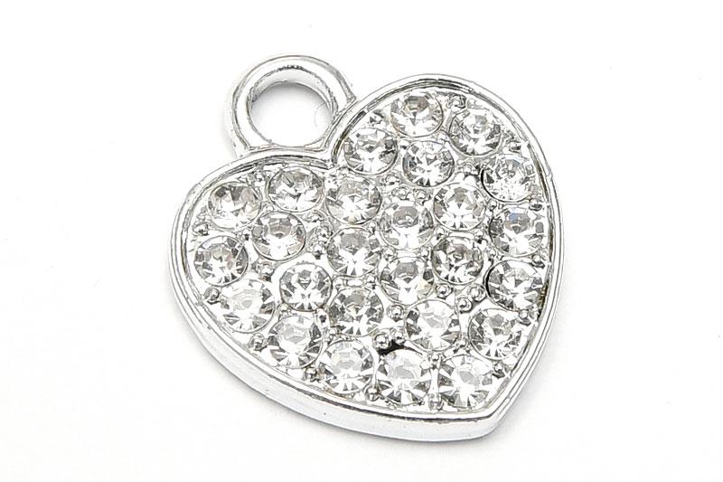 Silverpläterad berlock Hjärta strassfylld