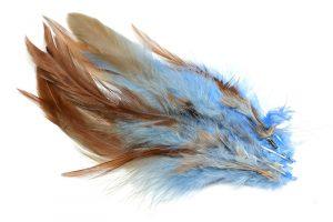 Tvåfärgade fjädrar Blå/Brun 10st