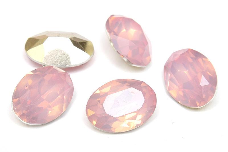 Oval cabochon med opaleffekt, Rosa 18x13mm