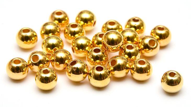 Runda akrylpärlor 6mm Guld