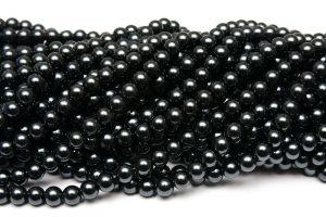 Hel sträng Vaxade glaspärlor 8mm Mörkt Stålgrå