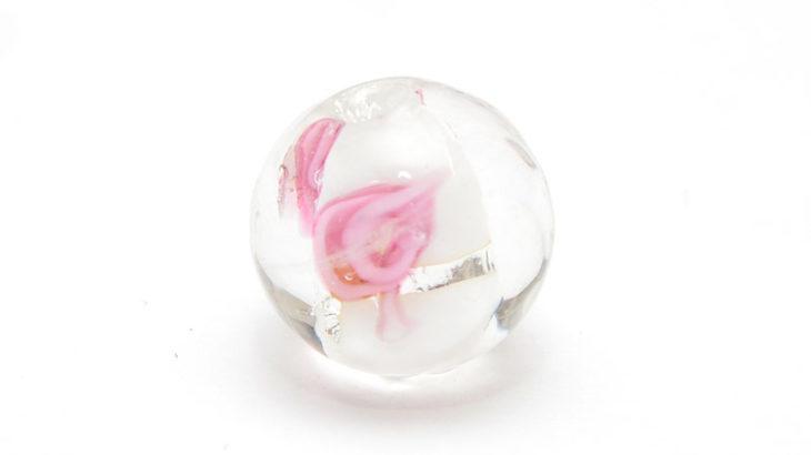 Lampwork pärla Vit med rosor