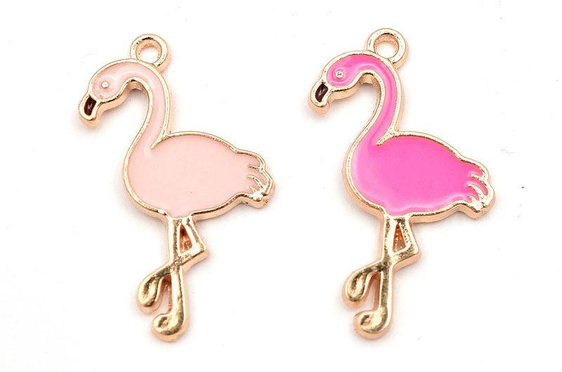 Guldpläterad berlock, rosa flamingo