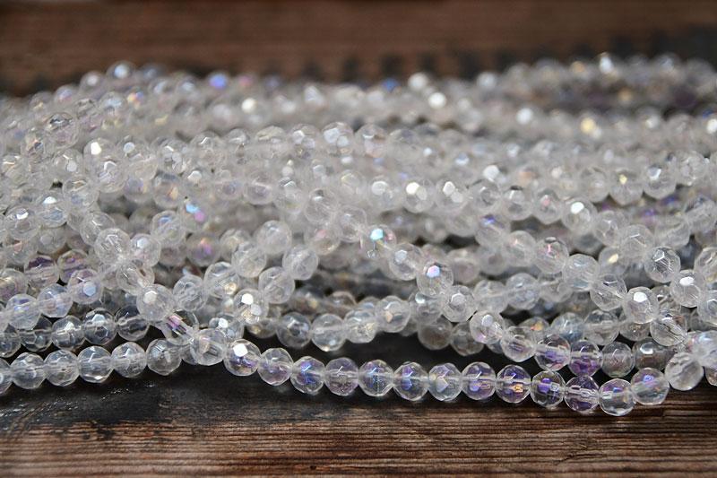 fasetterade glaspärlor Klar ab
