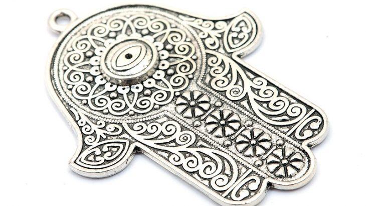 Antiksilver berlock, Stor Hamsa Hand