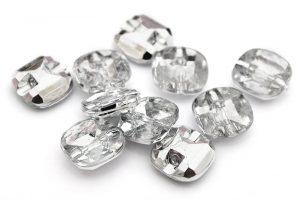 Akrylknapp Kristallkudde klar 10st