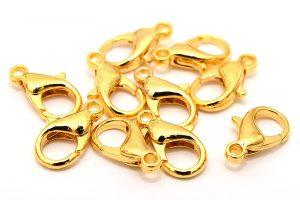Guldpläterade Karbinlås 14mm