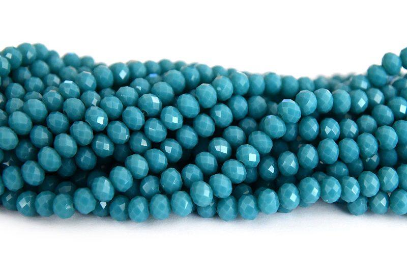 Fasetterade rondeller Semitransparent Montanablå 6x4mm