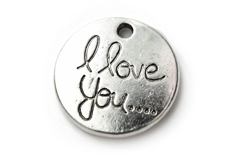Antiksilver budskapsbricka I Love You....