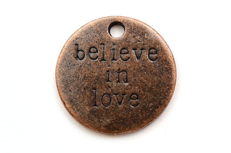 Kopparpläterad budskapsbricka Believe In Love
