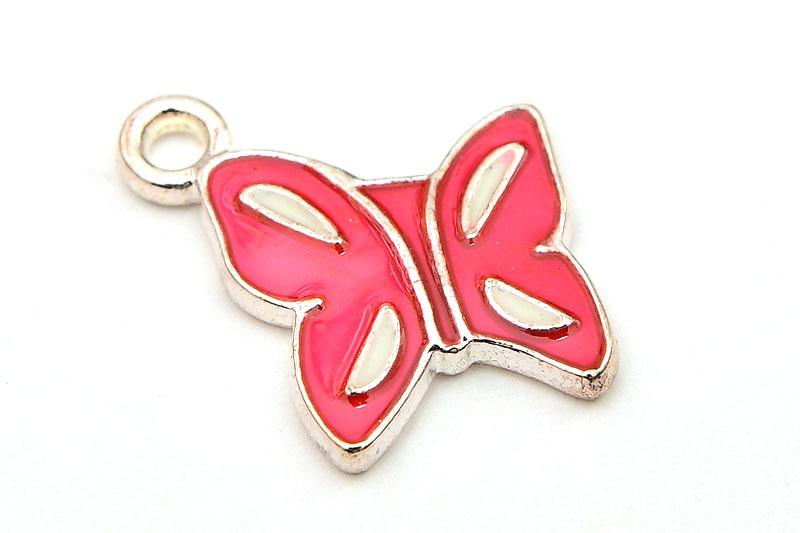 Silverpläterad berlock Fjäril, med rosa emalj