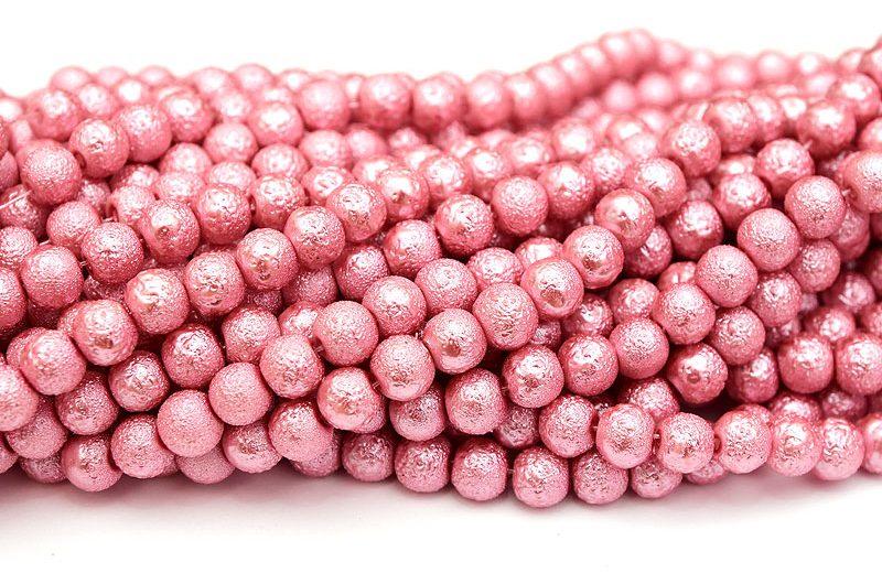 Hel sträng Strukturpärlor 8mm Rosa