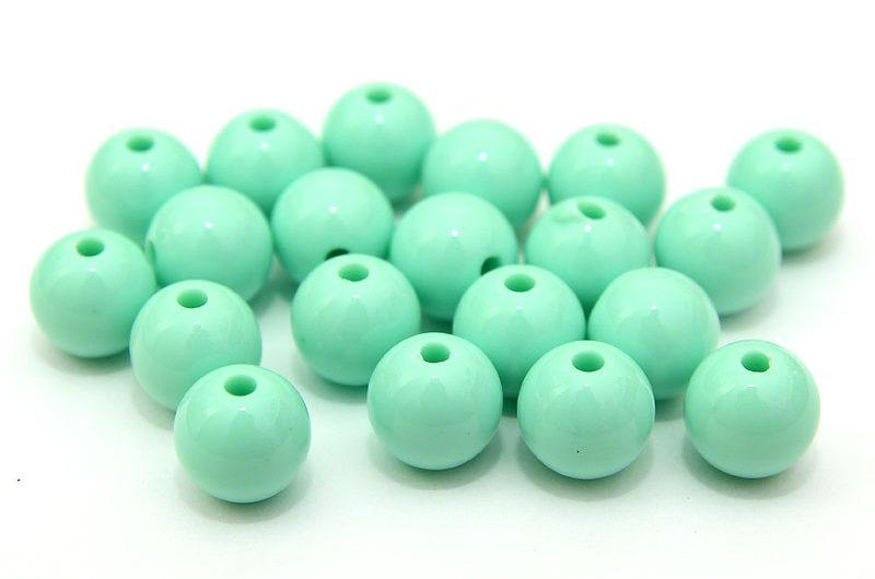 Akrylpärlor 9mm Mintgrön, 20st