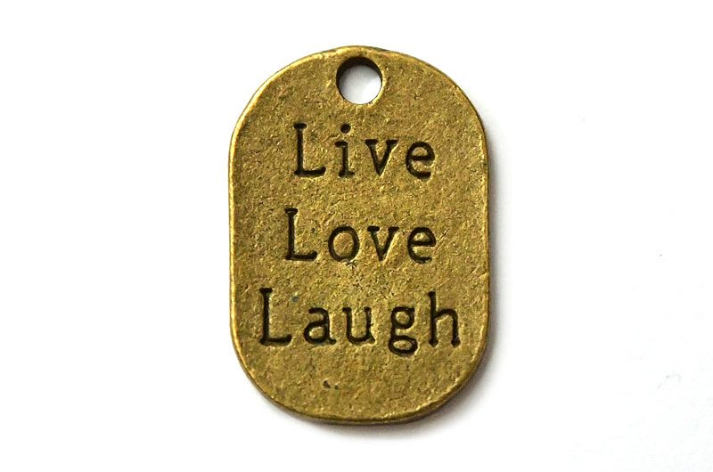 Vintage budskapsbricka Live, Love, Laugh