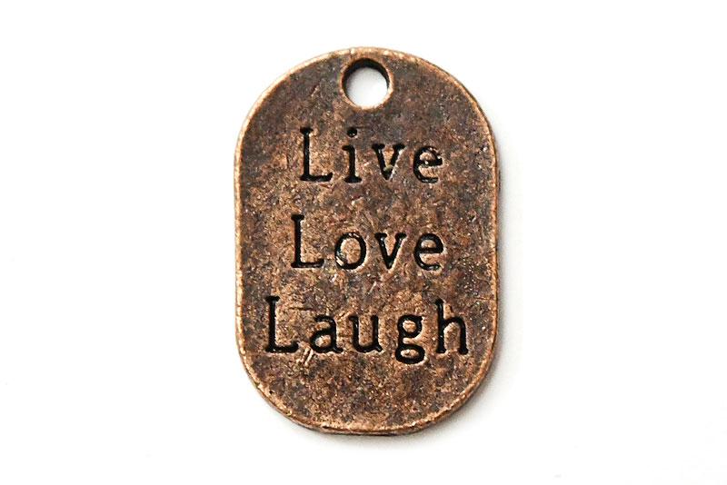Kopparpläterad budskapsbricka Live, Love, Laugh
