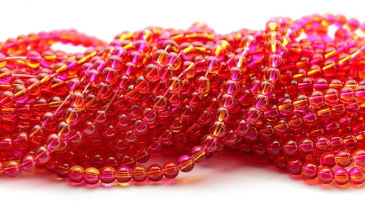 Runda glaspärlor 6mm Rosa/Gul, ca 135st