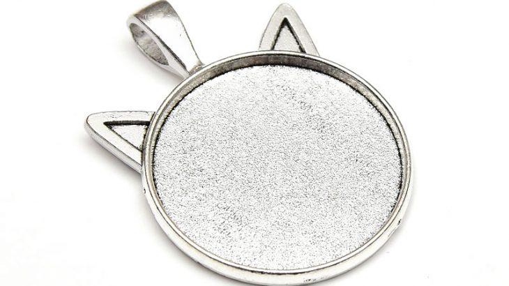 Antiksilver stomme Katthuvud, för 25mm cabochon