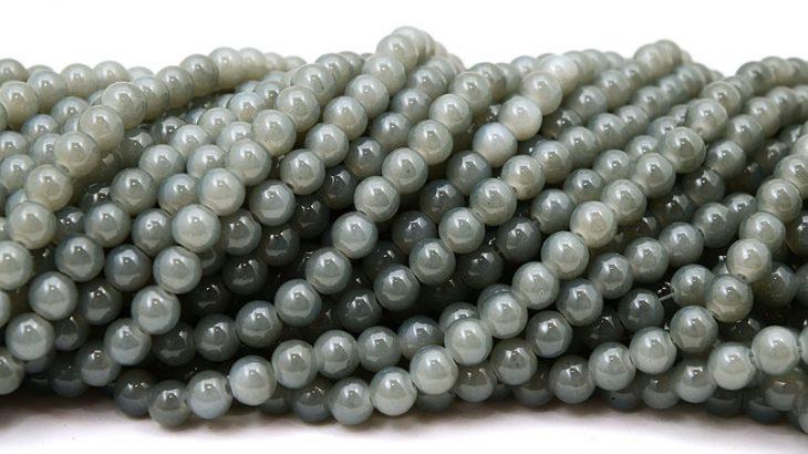 Jadeimitation Runda 8mm Grå