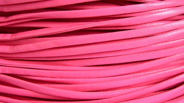 Läderimitation band, Rosa, 4x2mm