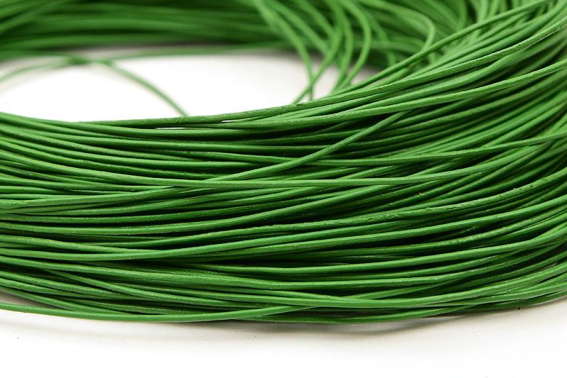 Äkta Lädersnöre 1mm Grön