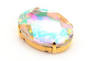Kristallslider med spegeleffekt, Guldfärgad stomme 25x18mm