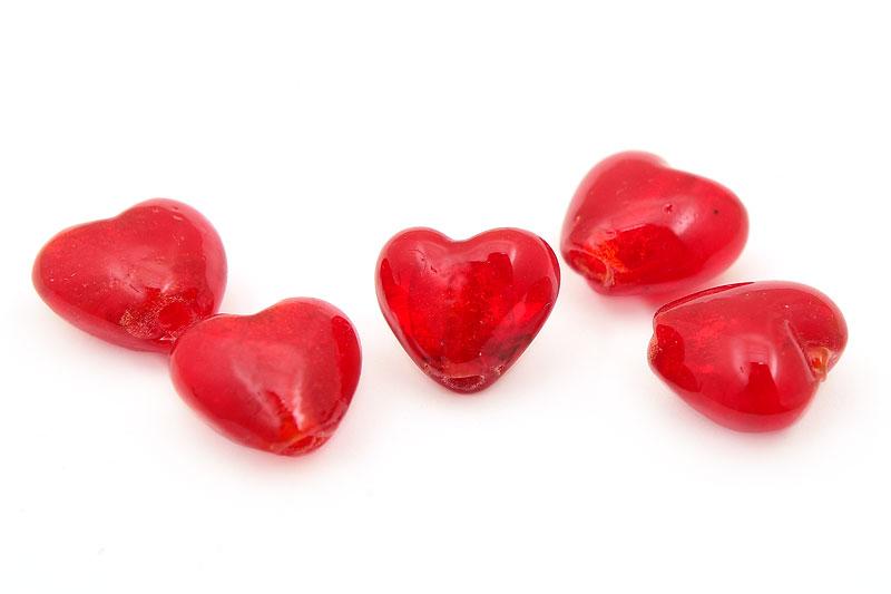 Silverfoil Hjärta 12mm Röd, 5st