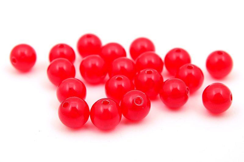 Akrylpärlor runda jadeimitation Röd 10mm