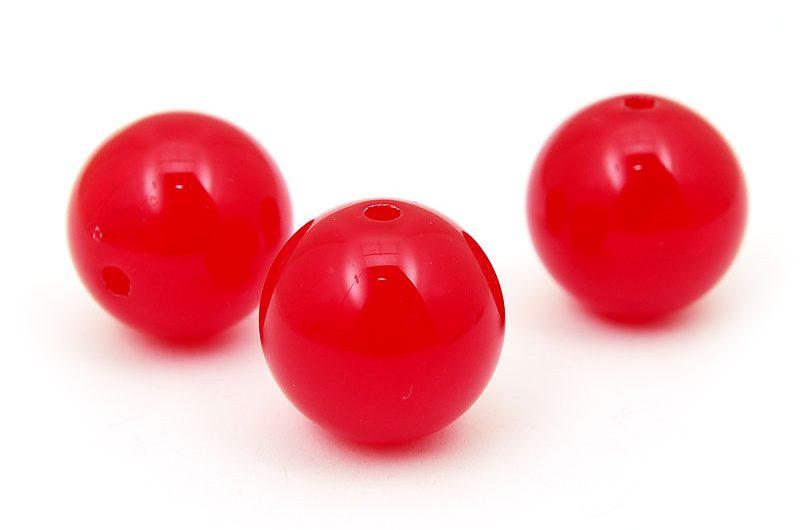 Akrylpärlor runda jadeimitation Röd 20mm, 3st