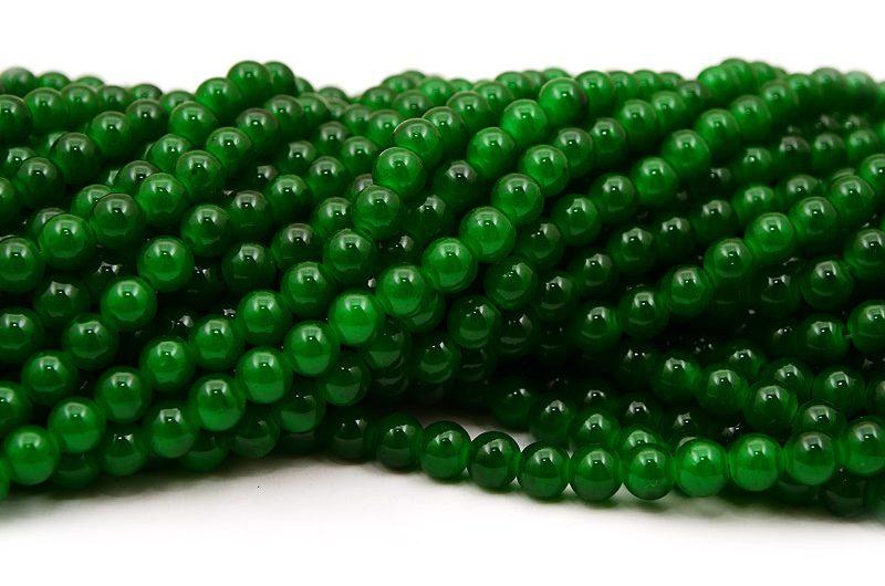 Jadeimitation Runda 8mm Grön