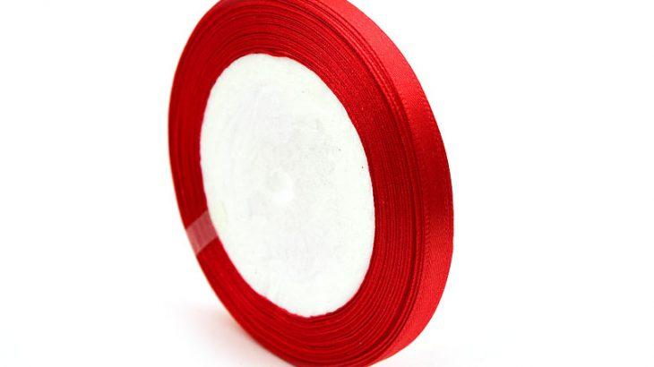 Sidenband, hel rulle 22m, Röd 6mm