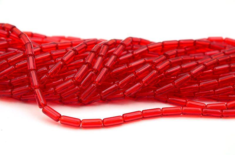 Glaspärlor Tuber Röd, ca 33st