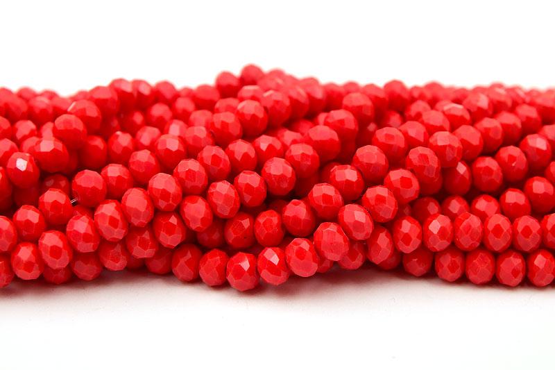 Fasetterade rondeller Opak Röd 6x4mm