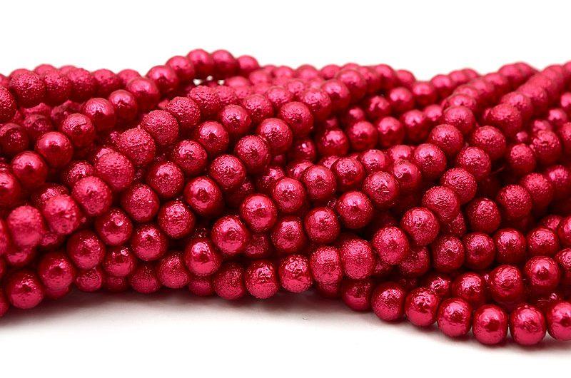 Hel sträng Strukturpärlor 8mm Röd