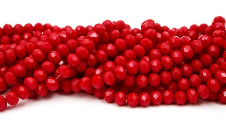 Fasetterade rondeller 8x6mm Opak Röd
