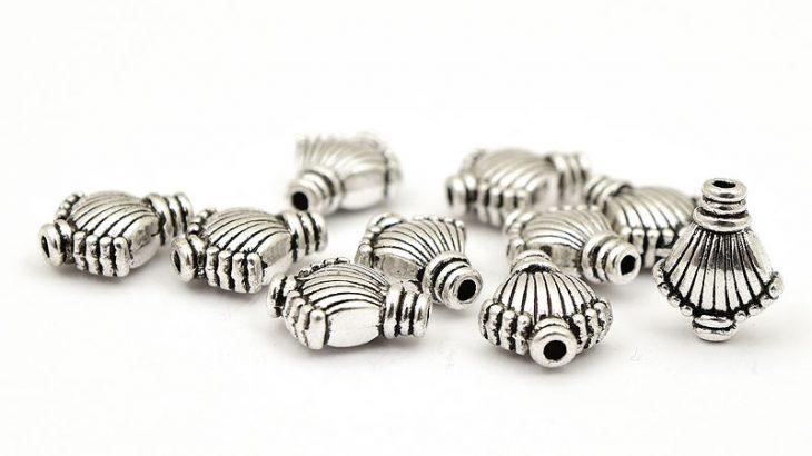 Antiksilver metallpärlor Solfjäder (tungviktare), 10st