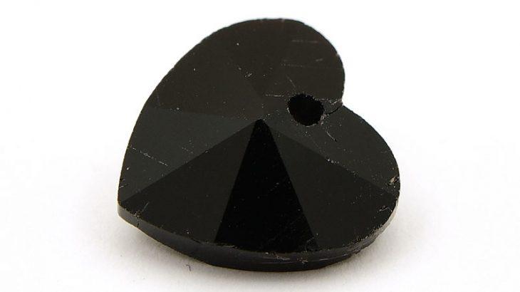 Glasberlock hjärta med pointback, Svart 14mm