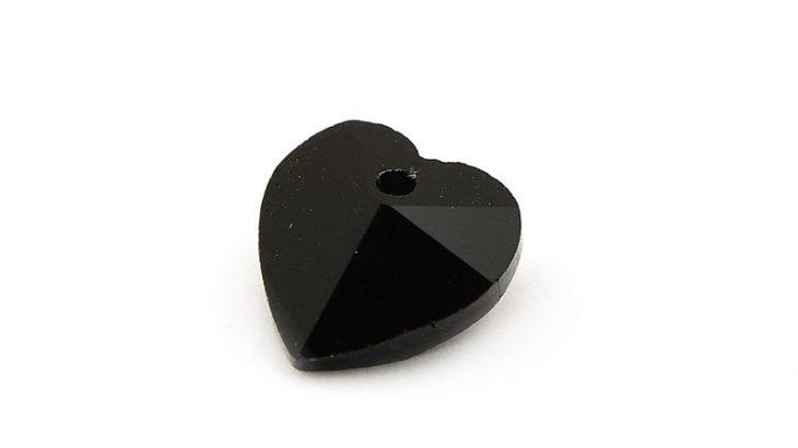 Glasberlock hjärta med pointback, Svart 10mm