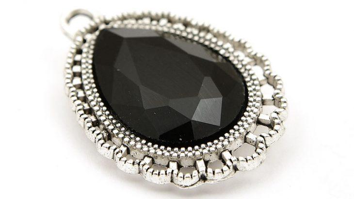 Antiksilver berlock Droppe med stor kristall Svart