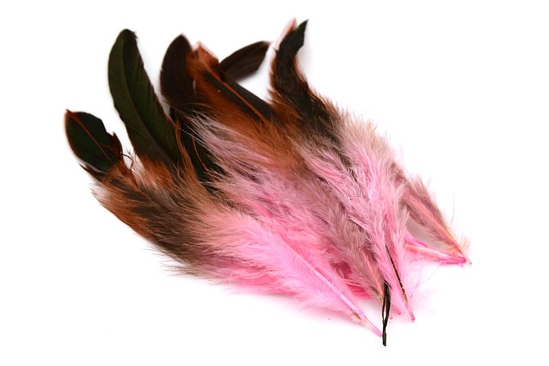 Trefärgade fjädrar Rosa/Brun/Svart 10st