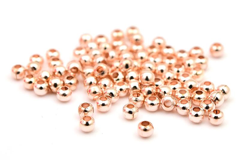 Roséguld små metallpärlor, 3mm, ca 100st
