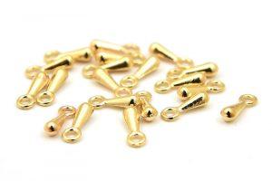 Guldpläterade, droppar i metall, till förlängningskedja